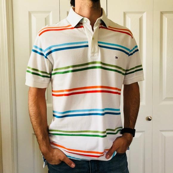 db11f719 Tommy Hilfiger Shirts | Multi Color Striped Polo Tee M | Poshmark